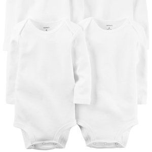 2 Pc Carter's Infant Baby Unisex White Bodysuit 6m